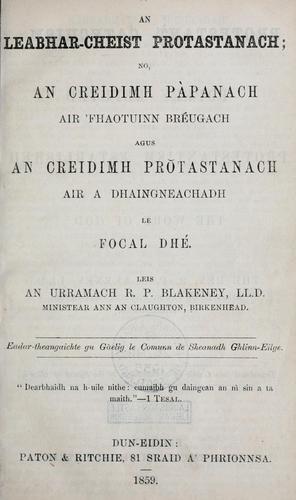 An leabhar-cheist Protastananch, no, An creidimh Panach air 'fhaotuinn brgach agus an creidimh Prastanach air a dhaingneachadh le focal Dh