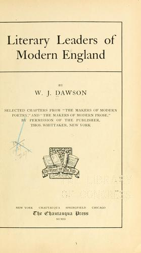 Download Literary leaders of modern England