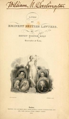 Lives of eminent British lawyers