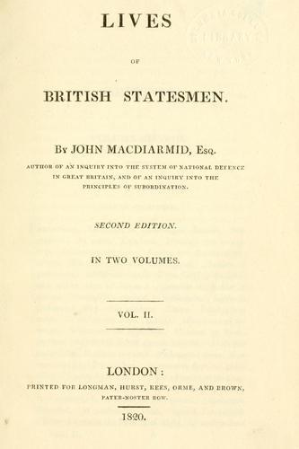 Lives of British statesmen.