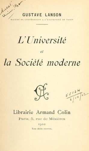 Download L' Université et la Société moderne.