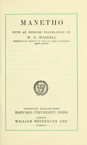 Manetho, with an English translation by W.G. Waddell