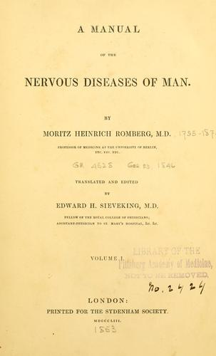 A manual of the nervous diseases of man.