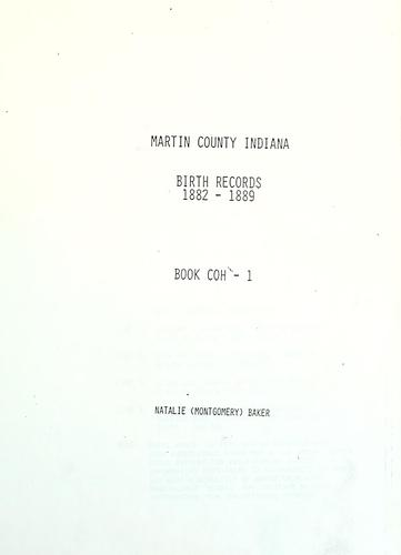 Martin County, Indiana, birth records by Natalie Montgomery Baker