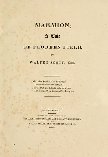 Marmion, a tale of Flodden Field