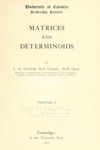 … Matrices and determinoids