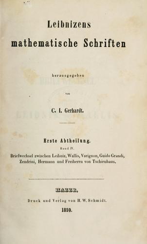 Mathematische Schriften.
