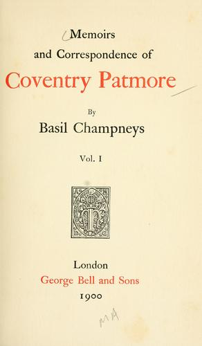 Download Memoirs and correspondence of Coventry Patmore