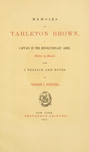 Download Memoirs of Tarleton Brown