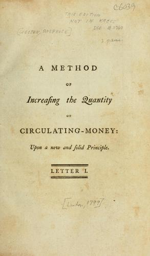 Download A method of increasing the quantity of circulating-money