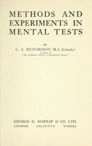 Methods and experiments in mental tests.