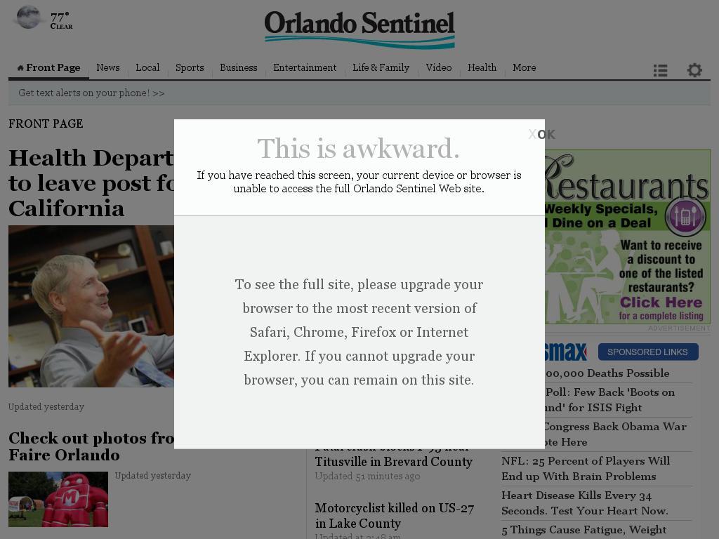 Orlando Sentinel at Sunday Sept. 14, 2014, 5:12 a.m. UTC