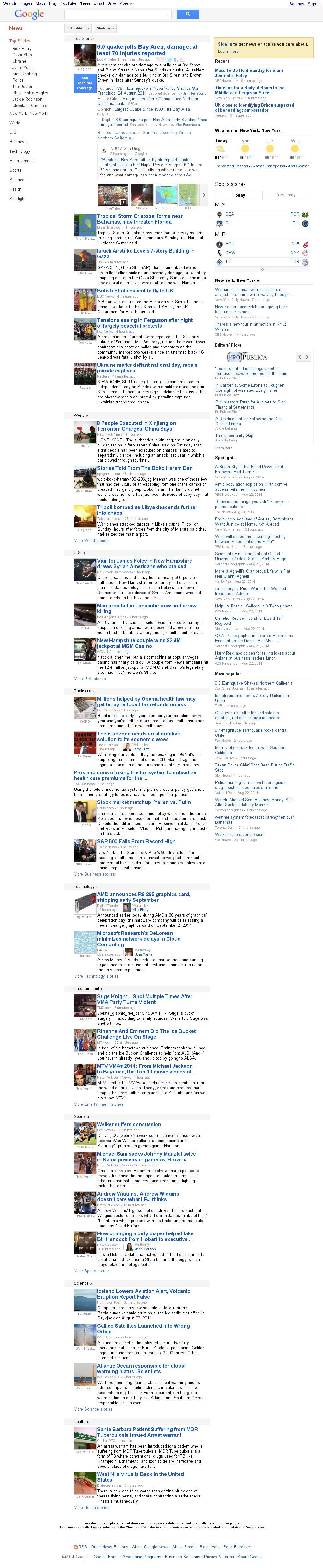 Google News at Sunday Aug. 24, 2014, 2:07 p.m. UTC