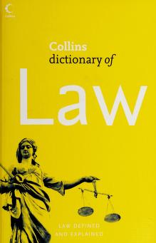 Cover of: Collins dictionary of law | Stewart, William J.