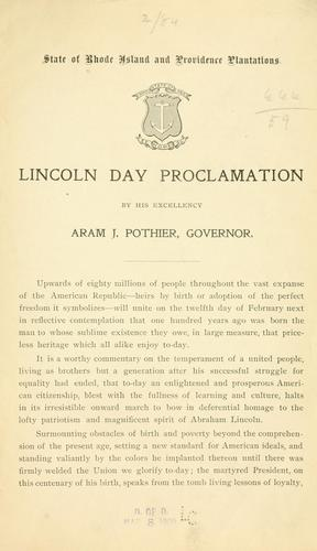 Lincoln day proclamation by Rhode Island. Governor, 1909- (Aram J. Pothier)