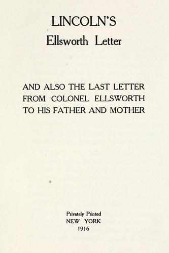 Lincoln's Ellsworth letter