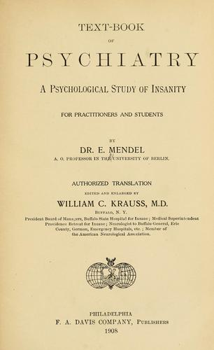 Text-book of psychiatry by Emanuel Mendel
