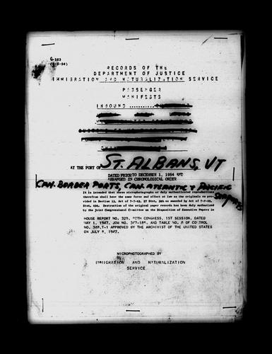 Manifest of passengers arriving in the St. Albans, VT District through Canadian Pacific, and Atlantic Ports, 1895-1954 by United States. Immigration and Naturalization Service